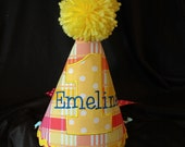 Birthday Part Hat- First Birthday Party Hat Sweet Summer Sunshine -  Can be plain or embroidered with a name.  Your Choice- Same Price