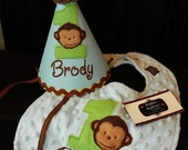 Modern Monkey Boy 1st First  Birthday Hat and bib set Light blue and Lime green