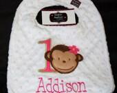 Mod Monkey Girl 1st First Birthday-Birthday Bib