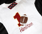 1st Birthday Shirt Football number 1 and name personalized