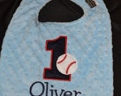 Baseball Birthday Bib-- First Birthday 1st Birthday   Can be plain or embroidered with a name. Your Choice- Same Price
