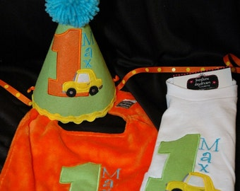 1st Birthday Shirt Hat and Bib Combo Set Car-Auto Theme or have me create a set in your theme and colors