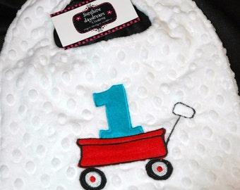 1st Birthday Party Red Wagon Birthday Party Bib
