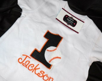 1st Birthday Shirt  Baseball number 1 and name personalized