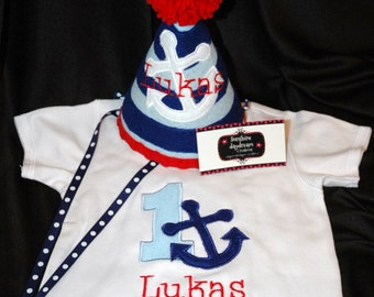Stylish Birthday Party Hat and Shirt Combo Set Preppy- Nautical - Sailor -Anchor- Navy- Party theme- Customized with NAME