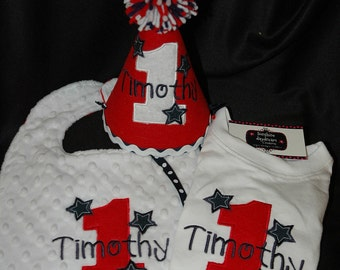 Red White and Blue Stars and Stripes Patriotic 1st First Birthday Hat, Shirt and bib set