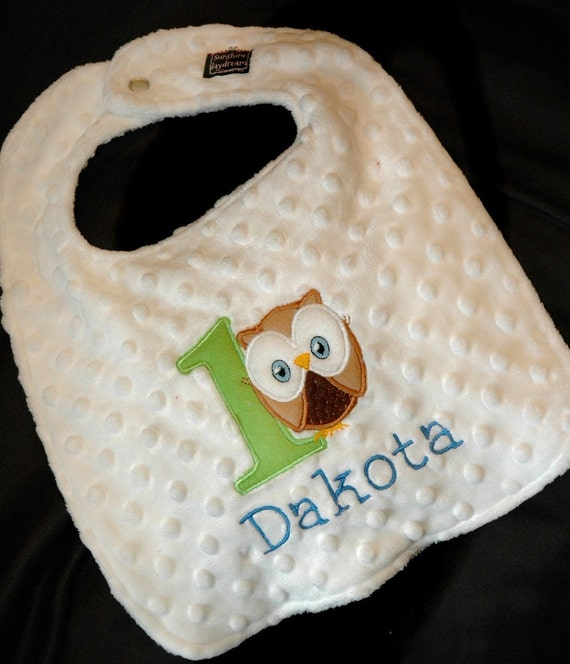 BOY --- Owl Birthday Look Whoo's turning ONE  BOY---Birthday Bib-- Can be plain or embroidered with a name. Your Choice- Same Price