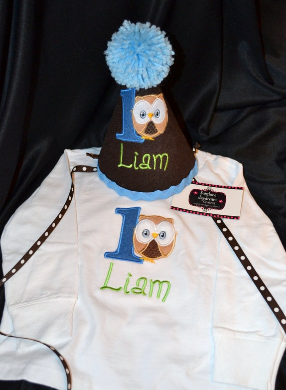 Owl Boy 1st First  Birthday Hat and Shirt  Combo Set