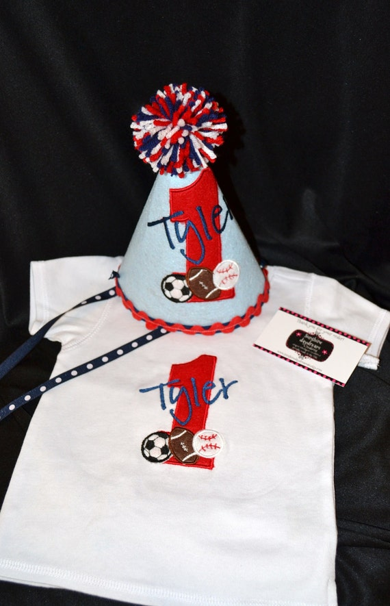 1st Birthday Party Set Hat-Shirt or Onsie  - Red Blue and white Sports theme- Soccer Ball- Football- Baseball-