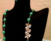 Orchid Pearl Necklace Set-Green