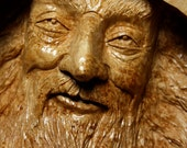 Wood spirit, wood carvings, Elf, Wizard, log cabin decor, gift for Wedding, face, carved by Gary Burns the treewiz, handmade, woodworking