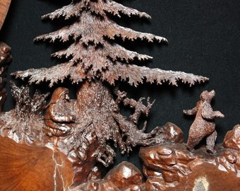 Realistic carved bear tree wood carving Art wooden wall sculpture by Gary Burns the treewiz