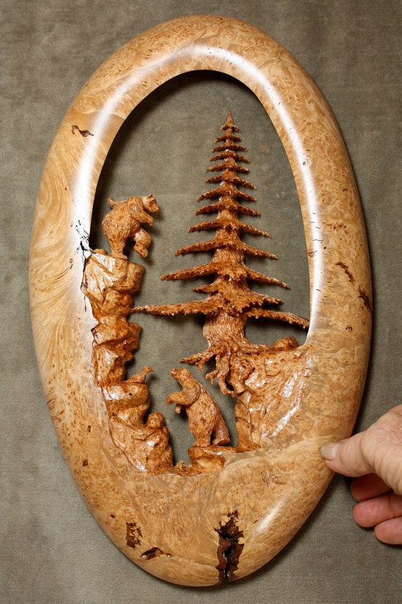 Bear art, tree carving, wood carving, log cabin art, gift for wedding, whimsical art, carved by Gary Burns the treewiz, handmade woodwork