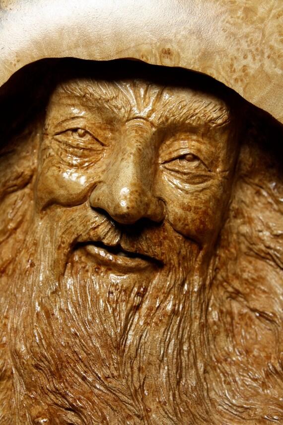 Wood Spirit Wood Carvings Elf Wizard Log Cabin Decor Gift