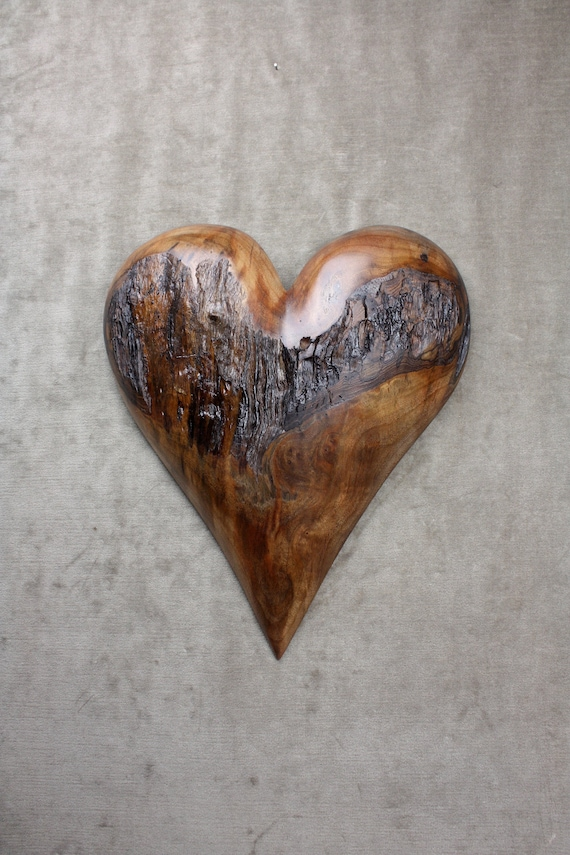 Personalized Anniversary Gift, Fathers Day Gift, Wood Carving, Wood Heart, by Gary Burns, wiz, treewiz, handmade, woodworking