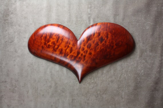 Personalized Wood Heart Carving Brown carved by Gary Burns the treewiz, a great Wedding or Anniversary gift idea, woodworking