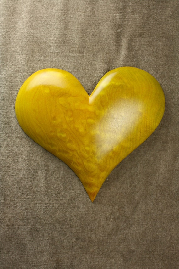 Personalized Wedding gift, carved wood Heart, wood carving, Birthday gift, Yellow, carved by Gary Burns, wiz, treewiz, handmade, woodworking
