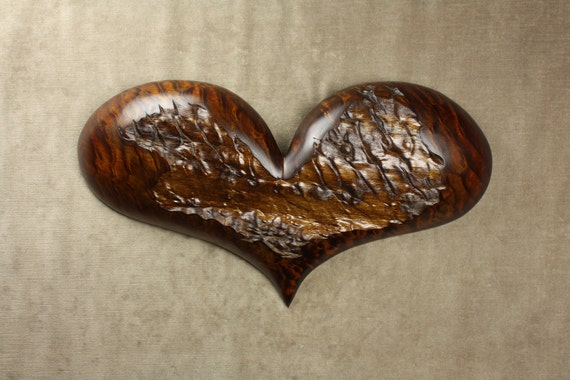 Personalized Handmade Wood Carving of a Brown Heart Wall Art carved by Gary Burns the Treewiz woodworking