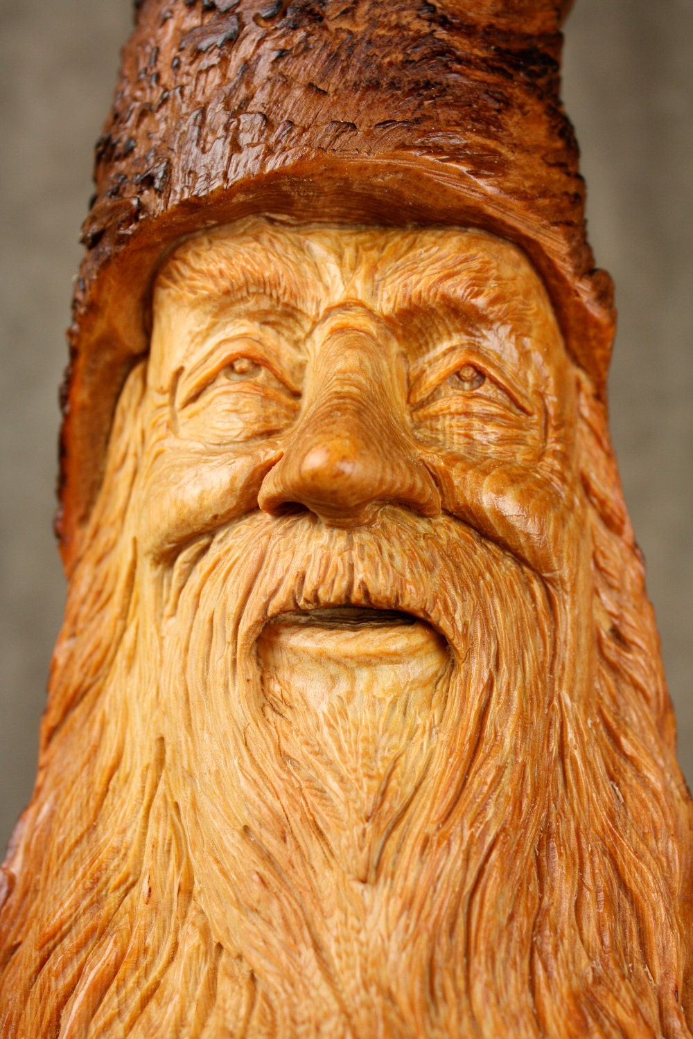 Wood Carving Wood Spirit Carved Elf Wizard Valentines Day