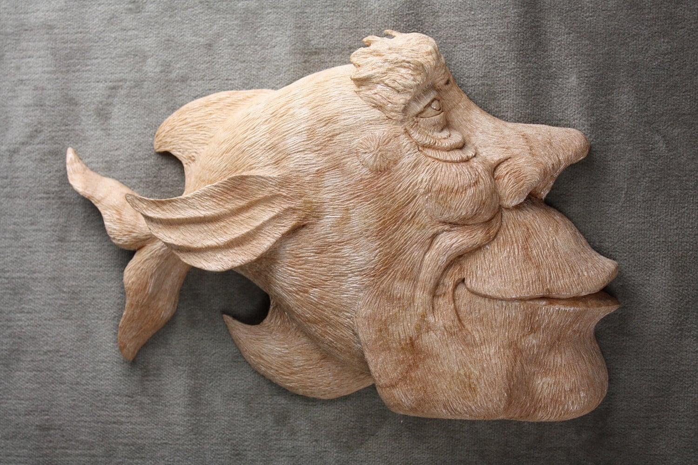 Wood fish carving log cabin decor wedding