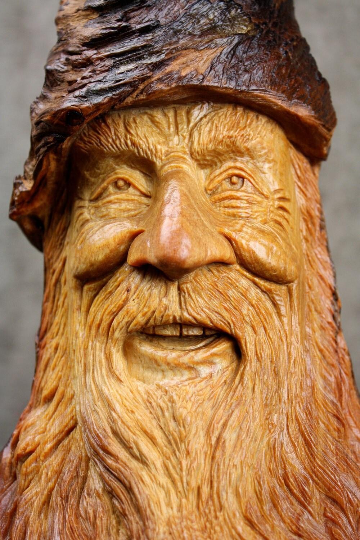 Wood Carving Wood Spirit Santa Elf Wizard A Christmas Gift On