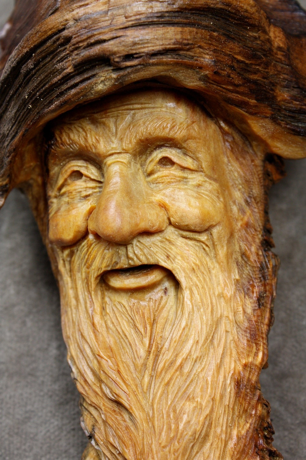 Handmade wood carving of a spirit on etsy carved by gary