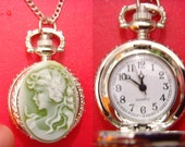 stunning lady cameo silver mini pocket watch 24 inches necklace