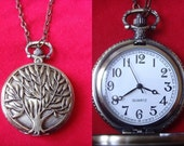 SALE vintage style tree filigree brozne tone old times pocket watch pendant necklace