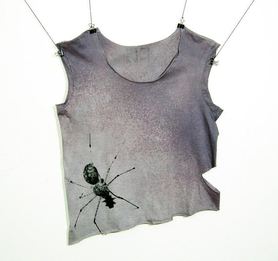 OOAK Spider Grunge Sleveless T Shirt  Black on Hand Dyed Bleached Grey Angle Crop Cut Raw Edge Women's Loose Fit Small