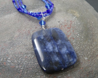 CLOUDS FLYING OVERHEAD Royal Blue Sodalite Pendant - Natural Gemstone Jewelry - Triple Strand Necklace - Beaded Jewelry - Sterling Silver