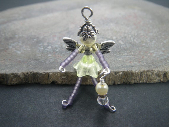 NINA Purple Fairy Charm - Yellow Fairy - Lucky Charm - Cell Phone Charm - Zipper Pull - Fairy Ornament - Rear View Mirror Charm