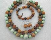 SALE -  50% off, Greens, Seeds 'n Things, 2 Handmade Beaded Necklaces, Bracelet & Earrings, Versatile 4-Piece Set by SandraDesigns