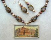 Collectible Antique Cigarette Card Pendant - Javanese Borobodur Buddhist Temple, Picasso jasper beads, necklace set by SandraDesigns