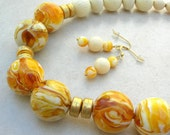 RARE Butterscotch Amber & Vintage Celluloid Beads, Gold Vermeil Beads, Statement Necklace Set by SandraDesigns
