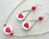 SALE - 50% off, Red Hot Love, heart necklace & long earrings, Valentine gift, set by SandraDesigns