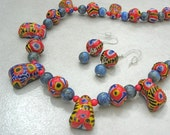 Rare New Kiffa Beads from Mauritania, Africa, Lapis & Coral Beads,Collector Ethnic Necklace,Matching Earrings, Necklace Set by SandraDesigns