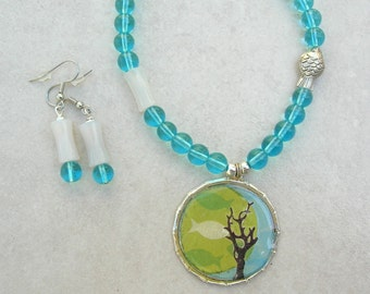 SALE - 50% off, Fish & Coral Pendant, White Jade and Blue Glass Beads, 1 Sterling Silver Fish, Sea Treasures, Necklace Set by SandraDesigns