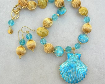 Gold & Turquoise Enameled Shell Pendant and Beads, Crystal, 24K Gold-Plated Beads, Sea Treasures, Statement Necklace Set by SandraDesigns
