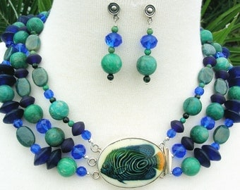 Blue Tropical Fish Porcelain & Sterling Clasp, Amazonite/Azurite/Glass/Crystal Beads, Multi-Strand Statement Necklace Set by SandraDesigns