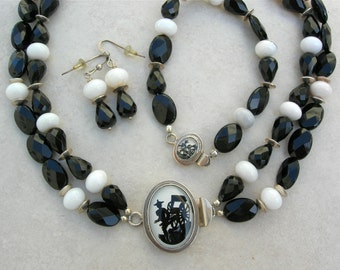 SALE - 50% off, 3-pc.set Chinese Rickshaw Porcelain Clasps, Onyx, Jade,Sterling Beads, Choker Necklace, Bracelet & Earrings by SandraDesigns