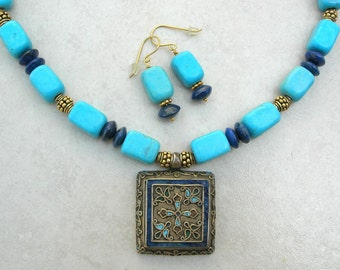 Antique Bokhara, Uzbekistan Amulet Box, Turquoise, Lapis & Gold Vermeil beads, Silk Road Necklace Set by SandraDesigns