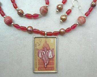 SALE - 50% off, 3-Pc.Set, Indonesian Ramayana Dancer & Temple Pendant, Pressed Glass Beads, Pearls, Bracelet, Earrings Set by SandraDesigns