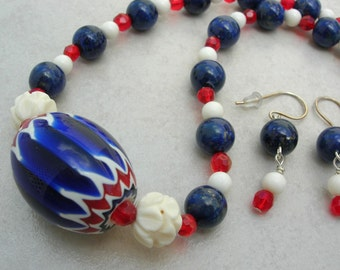 Beautiful Red, White & Blue Chevron Focal Bead, Quality Lapis, Chinese Bone and Crystal Beads, Modern Tribal Necklace set