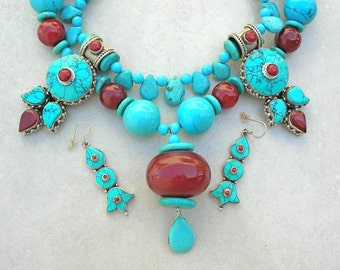 "EXTRAORDINARY Tibetan Necklace, 2 Tibetan ""Earrings,"" Turquoise & Cherry Amber, 1 Detachable Strand, Versatile Necklace Set by SandraDesigns"