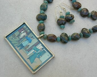 Chinese Antique Cigarette Card Pendant, Blue Oregon Opal & Amazonite Beads, Historical Necklace, Bracelet, Earring Set by SandraDesigns