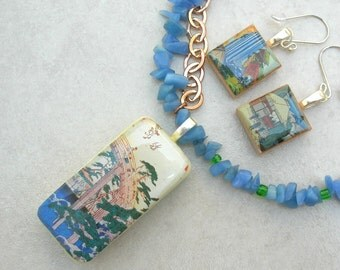 SALE - 50% off, Japanese Bridge Domino Pendant, Ukiyo-e Scenes by Hiroshige & Hokusai, Scrabble Earrings, Necklace Set by SandraDesigns