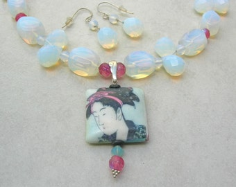 2 Geisha Necklaces, 1 Reversible/Detachable Geisha Pendant, 2 Necklaces - Blue AND Green, Blue Opaline & Green Jade Beads, 2 Prs. Earrings