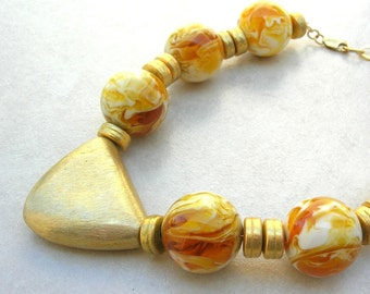 FABULOUS, RARE Butterscotch Amber & Gold Vermeil Triangle and Beads, Statement Necklace by SandraDesigns