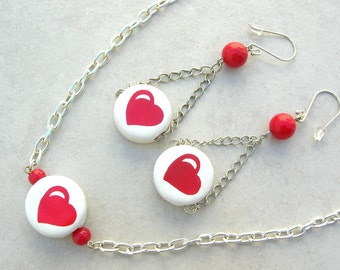 SALE - 50% off, Red Hot Love, Heart Necklace & Long Earrings, Valentine Gift, Necklace Set by SandraDesigns