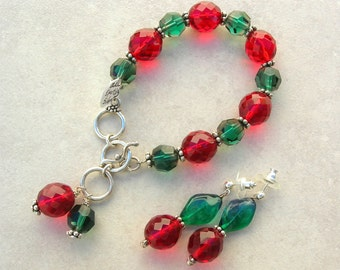 Christmas in July! Holiday Red & Green Bracelet and Earrings, Glass and Lucite Beads, Fancy Earrings, Sterling Silver, Set by SandraDesigns